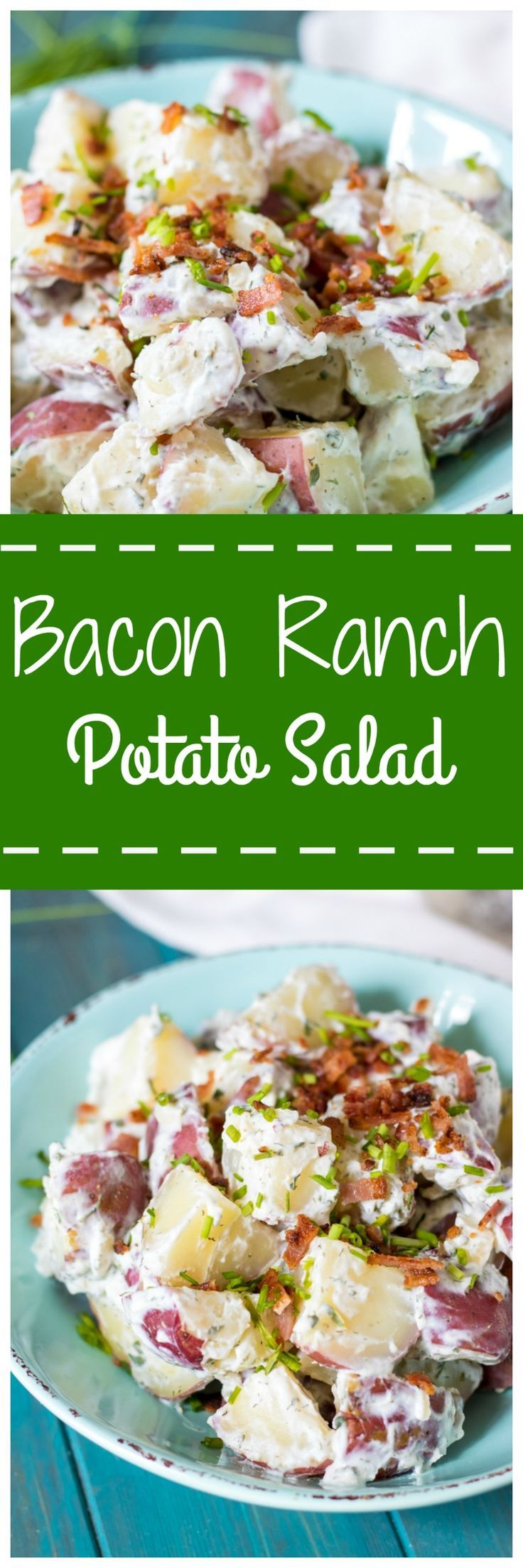 Bacon Ranch Potato Salad:Red potatoes, crispy bacon, sharp scallions, and a homemade Ranch dressing made with Light Mayonnaise and Greek Yogurt is sure to become your new favorite pot-luck go-to!