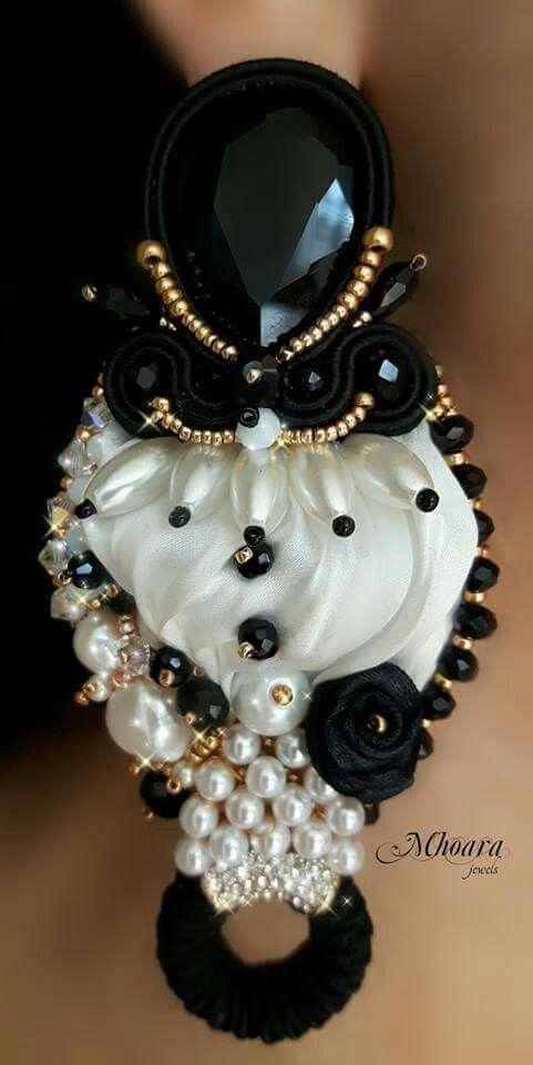 ' Pierrot ' earrings - shibori silk - soutache - designed by Mhoara Jewels
