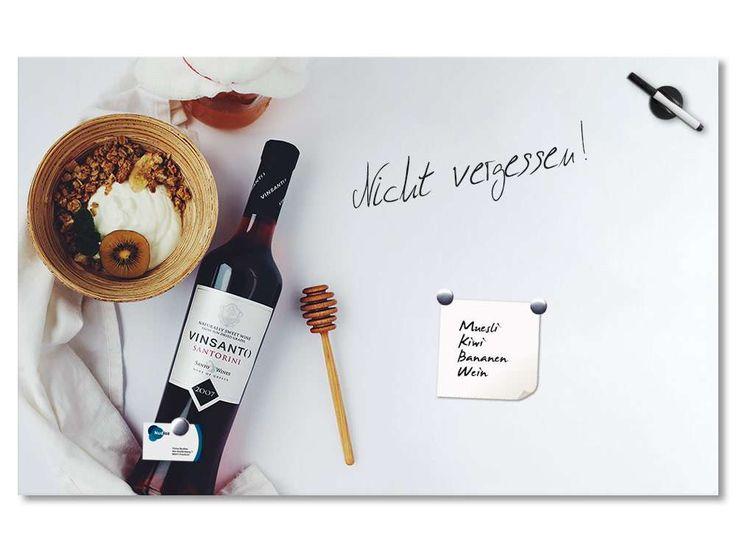 Glas Magnettafel für Küche Weinflasche Müsli Schale