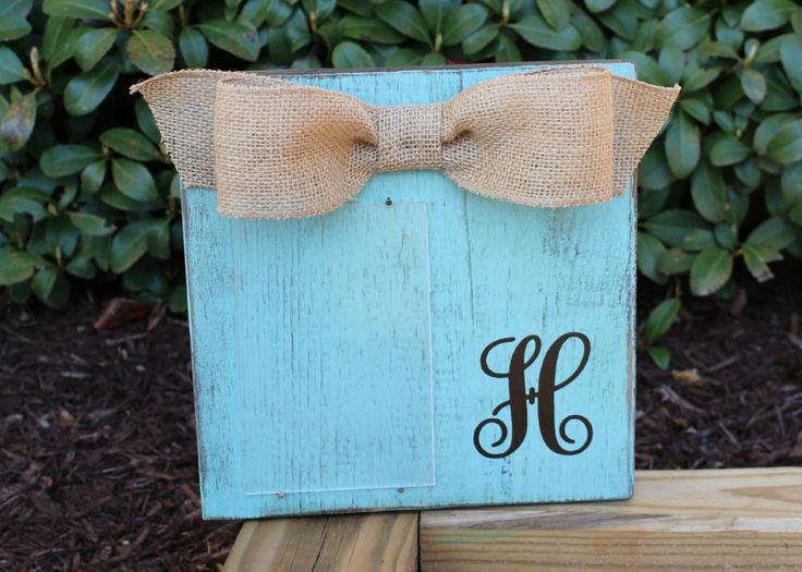 Monogram Picture Frame, Personalized Picture Frame, Custom Picture Frame, Turquoise Distressed Frame, 4x6 Picture Frame, Chunky Wood Block $23 by xBeyondBlessedx on Etsy