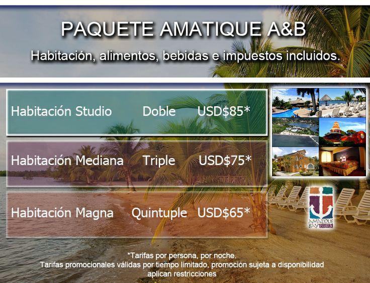 Amatique Bay, paquetes de  hospedaje, alimentos, bebidas e impuestos incluidos