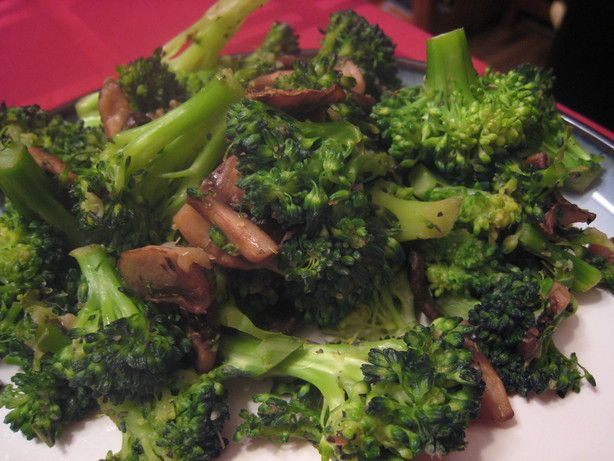 """Garlic-Spiked Broccoli and Mushrooms from Food.com: A nice alternative to """"old stand-by"""" side dishes."""