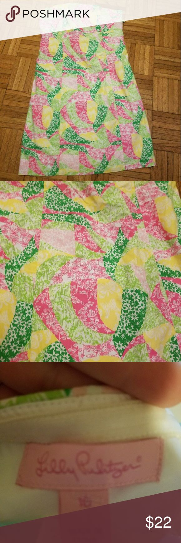 Lilly Pulitzer strapless sundress green, pink, yellow patterned Lilly Pulitzer sundress. tie back closure. size 10. great condition! Lilly Pulitzer Dresses Strapless