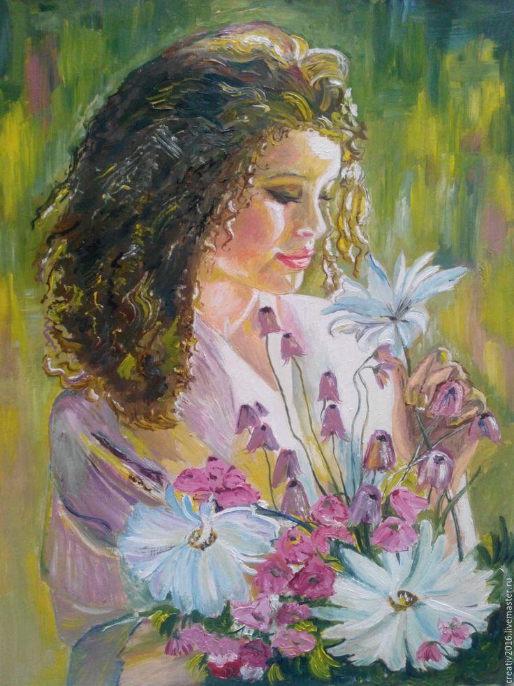 Купить Картина маслом ДЕВУШКА - зеленый, цветы, девушка, красивая девушка, букет цветов
