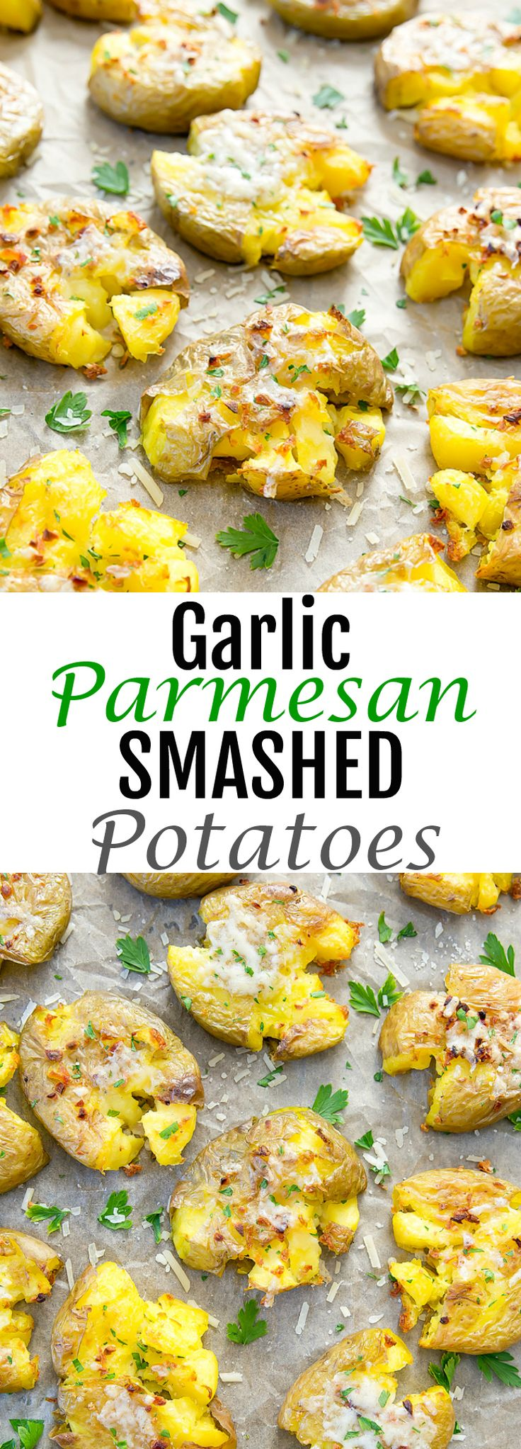 Garlic Parmesan Smashed Potatoes. An easy side dish where the potatoes are both soft and crispy.