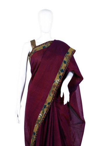 Tussar Silk Handpainted Kalamkari Saree – Desically Ethnic
