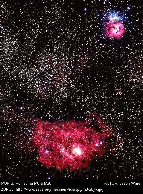 NGC 6523, Laguna M8  Souhvězdí: Střelec       Jak je obvyklé pro difusně emisní mlhoviny, seskupení mladých hvězd, které se tvořilo z mlhovinového materiálu, bylo objeveno jako první. V tomto případě se jednalo o mladou otevřenou hvězdokupu NGC 6530, ve východní polovině objektu M8, k