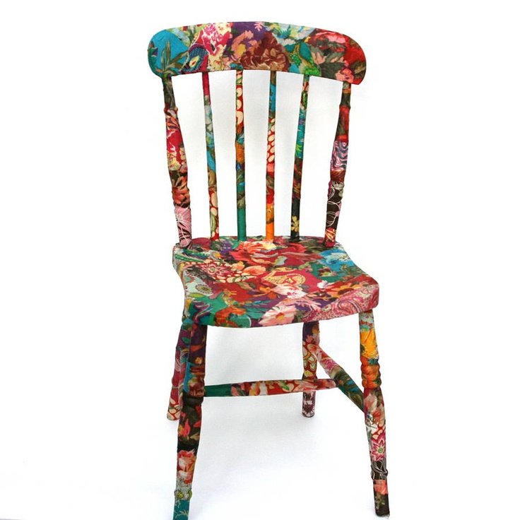Fabric decoupage wooden chair  by Viva Designs