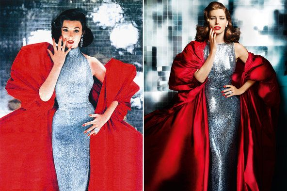 """Dorian Leigh in Revlon's famous """"Fire & Ice"""" ad. Jessica Biel stands in for Leigh in a 2010 ad"""