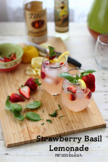 Fresh, garden grown basil and strawberries add a wonderful flavor to lemonade mixed with Tito's Handmade Vodka!