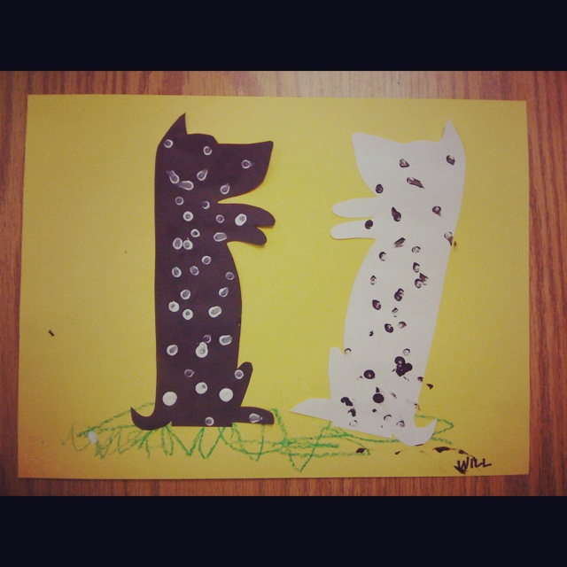 Harry the Dirty Dog - cut out one black and white dog. Use end of pencil to make spots.