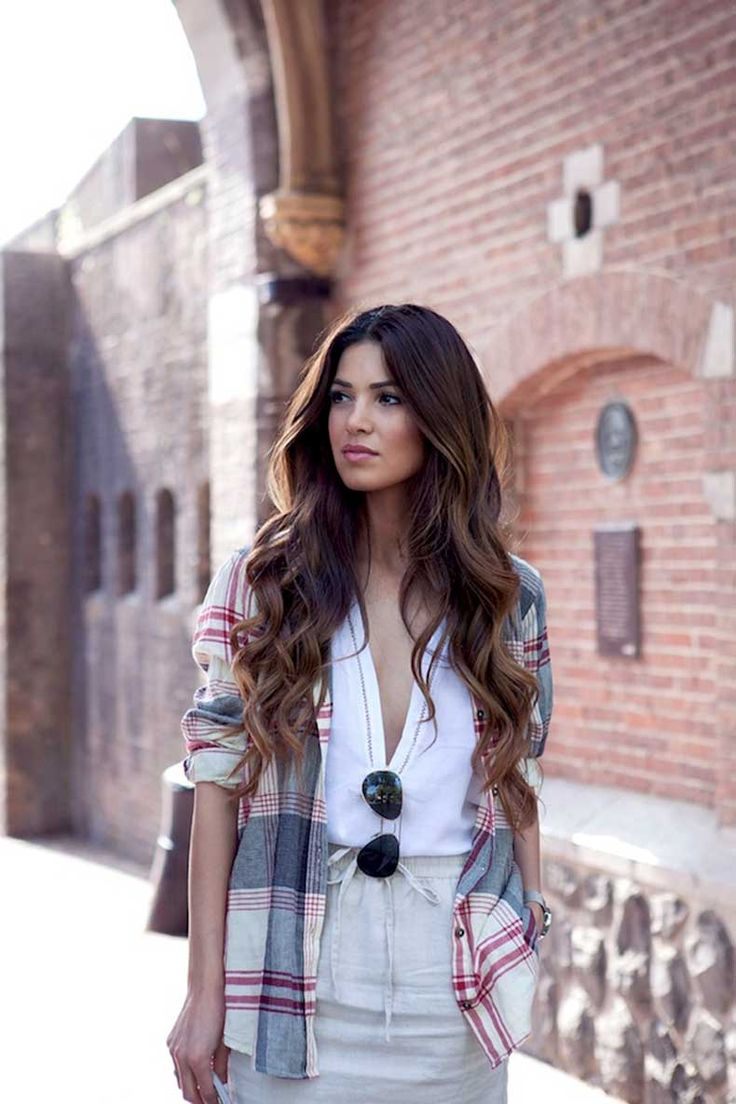 6-Le-Fashion-Blog-Long-Hair-Inspiration-Negin-Mirsalehi-Brunette-Brown-Wavy-Big-Waves-Plaid-Shirt-Linen-Skirt