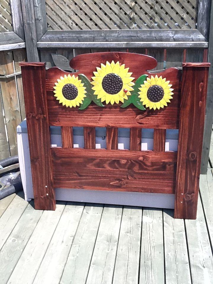 Headboard. Pine with decorative sunflowers.