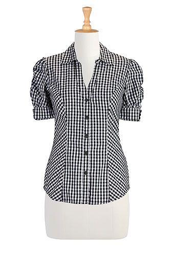Gingham check cotton shirt STYLE # CL0027319 (eShakti - Original Price: $64.95, Sale Price: $32.95)
