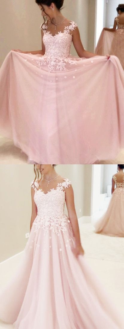 2017 pink long prom dress, pink lace prom dress, formal evening dress