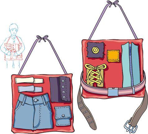 Un coussin rassemblant toutes les difficultés de l'habillage : boutons, pressions, lacets, fermeture éclair, scratch, agrafes... Vive l'autonomie ! Y'a plus qu'à le fabriquer !
