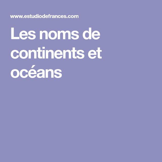 Les noms de continents et océans