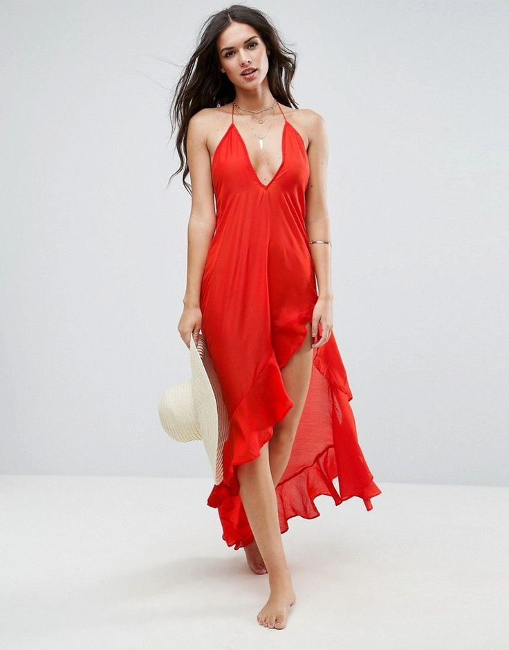 ASOS Beach Tiered Dress With Hi Low Detail - Red