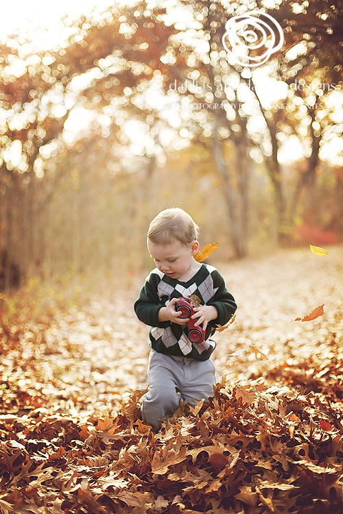 Dallas child toddler photographer 2 year old fall leaves
