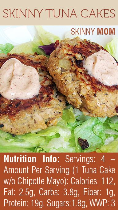 LOVING this recipe for Skinny Tuna Cakes! So light but filling at 112 calories per serving!or canned chicken