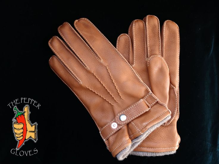 Deerskin brown leather winter men gloves with cashmere lining size 9 - JULIEN #ThePepperGloves #WinterGloves