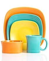 "Small portions look better on small plates. Fiesta Ware 7.5"" square salad plate (shown in yellow). $12"