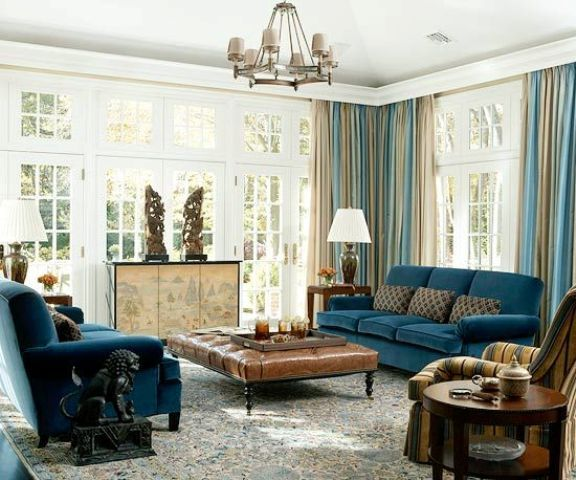Navy Blue Upholstery, Blue And Beige Draperies, Beige Room