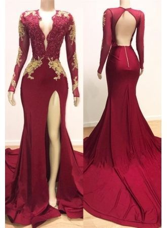 Prom Dress Gorgeous Long Sleeve Mermaid Prom Dresses Lace Appliques Evening  Gown 7d8c3a03d