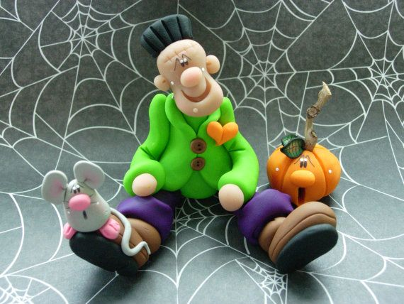 FrankieStein with Mouse and Jack o' lantern by ClayBabiesInc, $29.95
