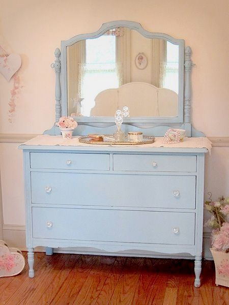 Antique Aqua Dresser With Swing Mirrorthis Could Be A Pretty Addition To My Pink Shabby Chic Room