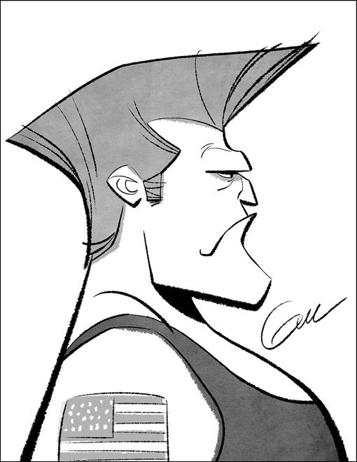 """Guile from """"Street Fighter""""   17 Black And White Video Game Caricatures From """"Wreck-It-Ralph"""""""
