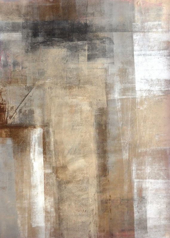 Arte abstracto acrílico pintura blanca, gris, marrón y negro - moderno, contemporáneo, Original 18 x 24