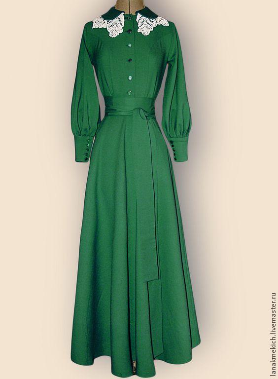 """Купить Длинное платье с широкой юбкой """"Русский дом"""" №2 - морская волна, платье длинное"""
