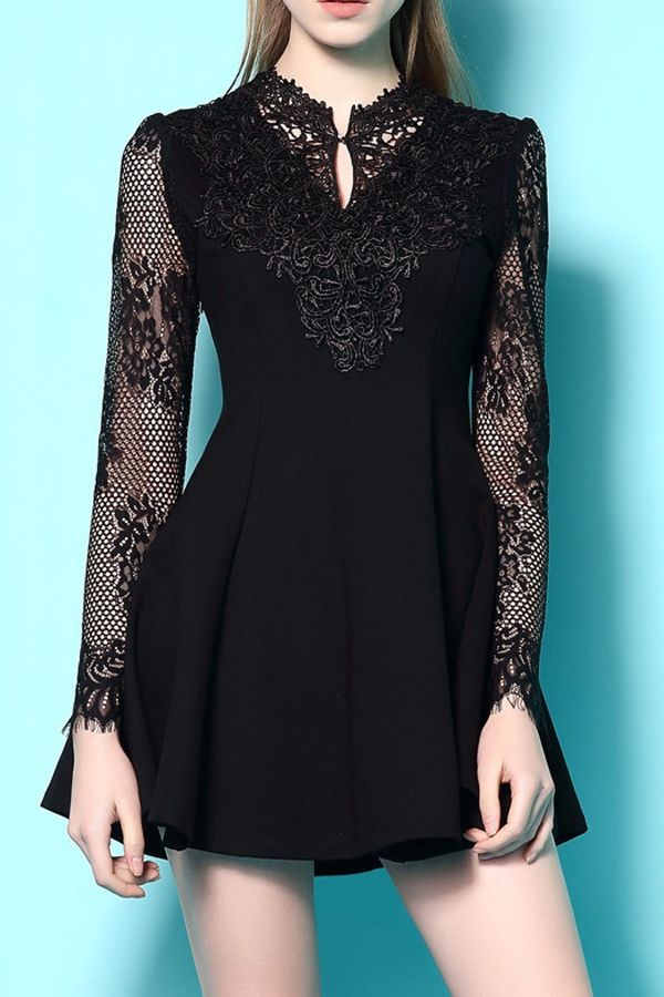 Black long sleeved lace goth dress