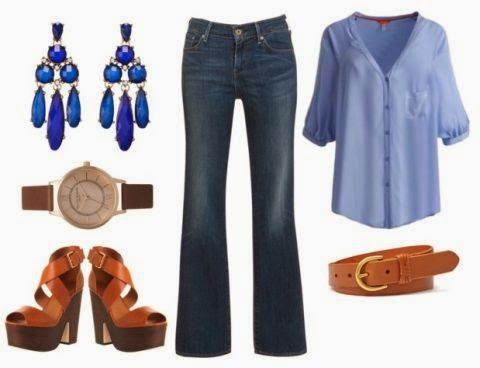 pastel blue blouse, flared jeans, chandelier earrings // the daily dani: Perfect & Preppy: Joules USA