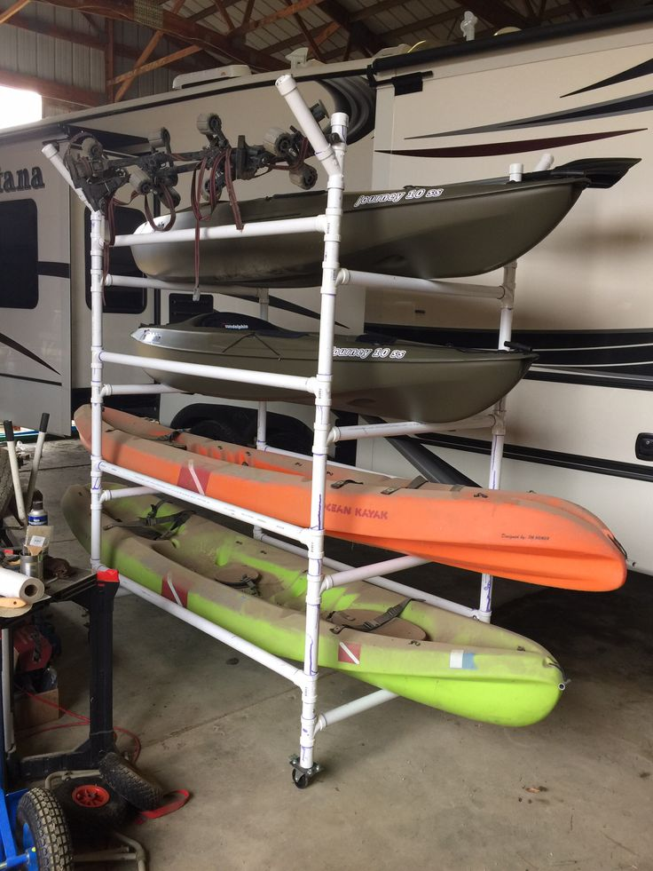 "Homemade PVC kayak rack , can store 4 kayaks,paddles,kayak car rack .made from 1.5"" schedule 40 PVC (cost around $250 in 2015 prices) has 4 swiveling casters with two being lock kind ( otherwise rack will roll away when loading) . To make the wheel mounts I used 1 1/4"" metal conduit cut to 2.5' long and weld a pre-drilled plate for the wheel . I bolted thru the PVC and conduit pipe to lock them together. The conduit helps reinforces the PVC when pushing the cart around ."