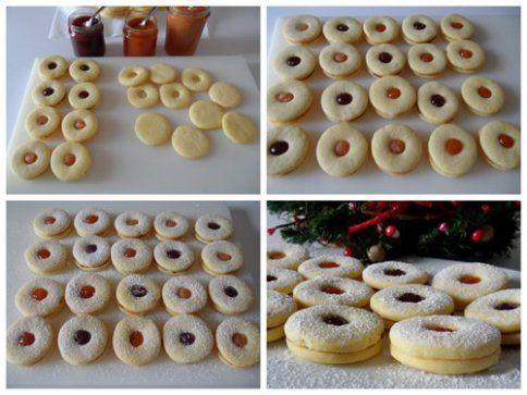 Questi biscottini tirolesi sono perfetti! Cottura impeccabile per una pasta frolla delicata, chiara, morbida e molto friabile. Due versioni per questa foto-ricetta: una con marmellata ed una con cioccolato fondente fuso