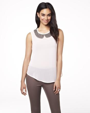 Sleeveless blouse with beaded collar Summer 2013 Collection
