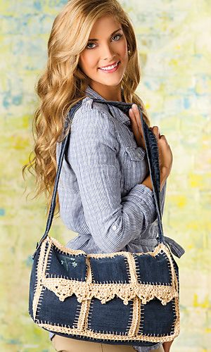 Upcycled-Jean Messenger Bag - pattern in the spring edition of Crochet! magazine.  Could probably use a different edging pattern on the front, or take this idea and turn it into different purse shapes.