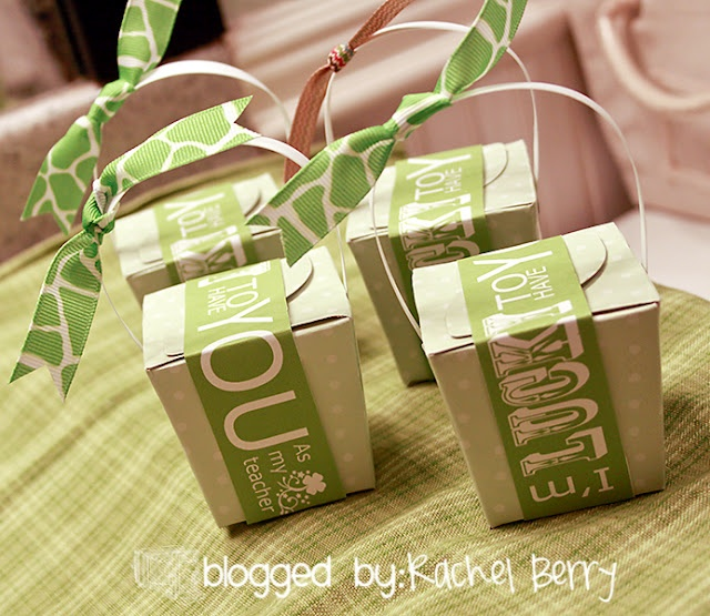 """""""I'm LUCKY to have you"""" St Patty's Day gift for teacher!   Supplies:   Bag of Rolo Candies,   Green Baby Shower Gift boxes from the Dollar Tree,   Free Printable Tags from The Crafting Chicks,   Ribbon from Wal-Mart,   Tape"""