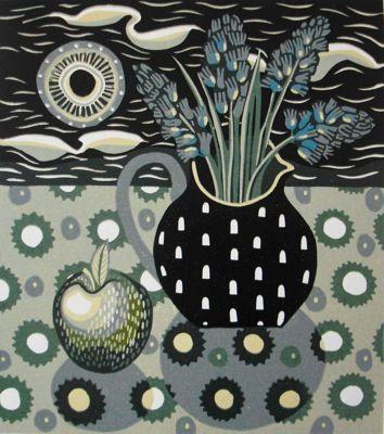 """""""Apple and jug"""" Linocut by Jan Walker"""