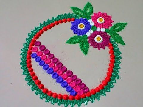 Super Easy Flower Border Rangoli Designs Using Spoon| Creative Rangoli by Shital Mahajan. - YouTube