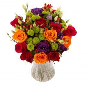 Lisianthus mauve, rose orange et rose, pomponette vert tendre... Une véritable explosion de couleurs pop acidulées qu'Andy Warhol n'aurait pas renié !  #bouquetdefleurs #livraisondefleurs #envoyerdesfleurs # fleurspascher