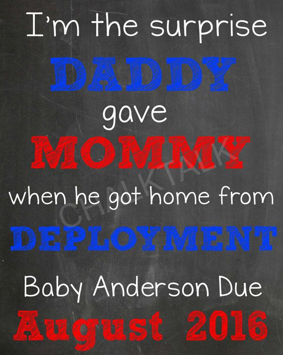 Military Pregnancy Announcement Deployment by ChalkTalkDesigns