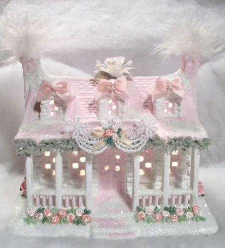 Shabby Pink White Chic Lighted Christmas Village Cottage House   eBay