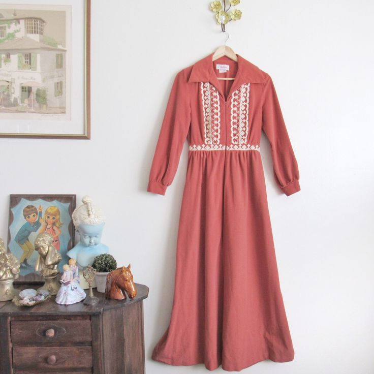 Vtg 70s Dusty Rose Flannel Gown • Soft & Warm Embroidered Boho Winter Maxi Nightgown House Dress - M/L by loudmouthmarket on Etsy https://www.etsy.com/listing/464181808/vtg-70s-dusty-rose-flannel-gown-soft