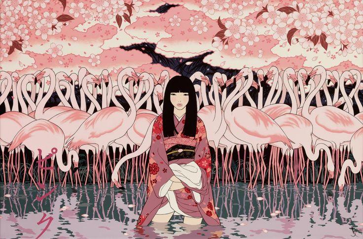 art: Galleries, Girls, The Artists, Pink Flamingos, Illustrations, Japan Artists, Yumiko Kayukawa, Yumikokayukawa, Rocks