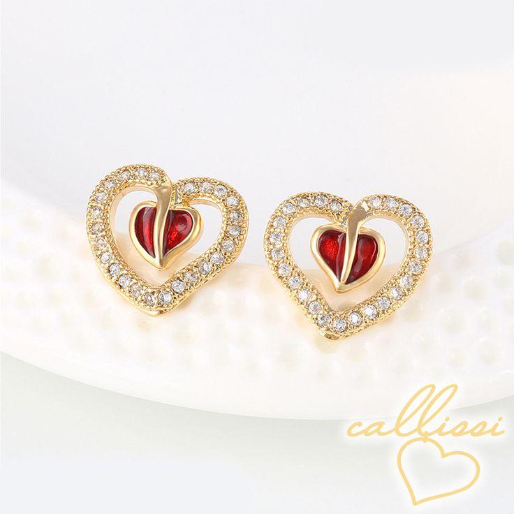 Herzen Ohrringe 750er Gold 18K echt vergoldet Damen Schmuck Strass Geschenk neu  Durch die Vergoldung verfärben sich unsere Schmuckstücke nicht