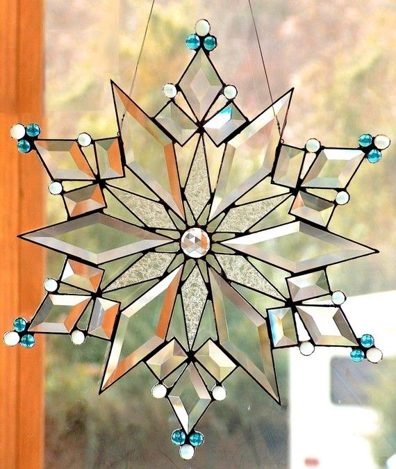 Stained glass and bead snowflake on Etsy