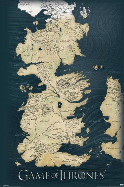 Grand poster de Game of Thrones, représentant la carte de Westeros. A offrir dès maintenant si vous connaissez un fan de la série la plus suivie du moment ! Format 61 x 91 cm.
